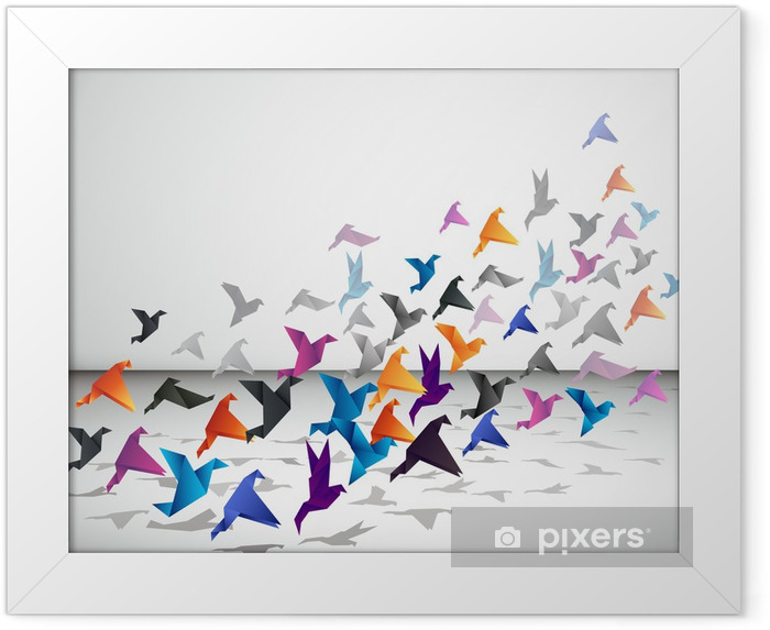 Plakat w ramie Kryty lotu, ptaki origami zacząć latać w zamkniętej przestrzeni. - Style