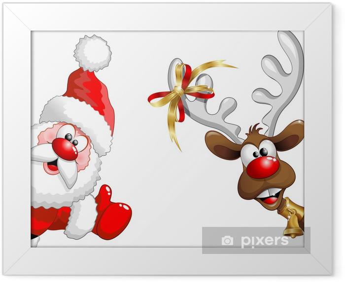 Renna e Babbo Natale ok-Funny Santa Claus and Reindeer Framed Poster - Christmas