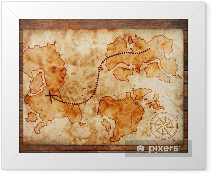 old treasure map Framed Poster - Backgrounds
