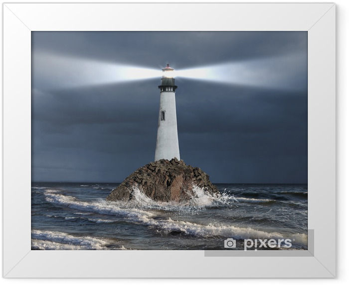 Lighthouse with a beam of light Framed Poster - Lighthouse