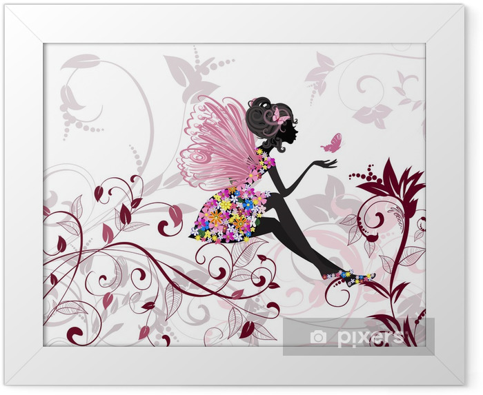 Flower Fairy with butterflies Framed Poster -