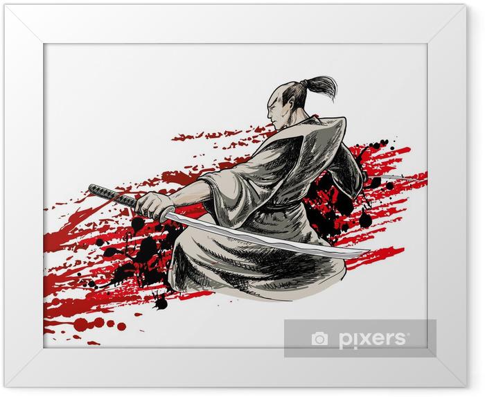 japan warrior Framed Poster - Backgrounds