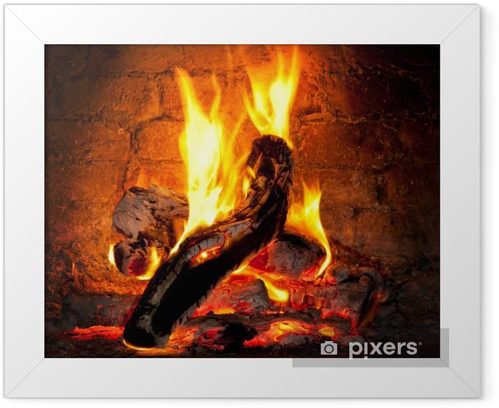Plakat w ramie Ogień płonie w kominku - Tematy