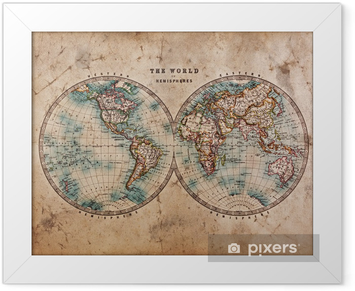 Old World Map in Hemispheres Framed Poster - Themes