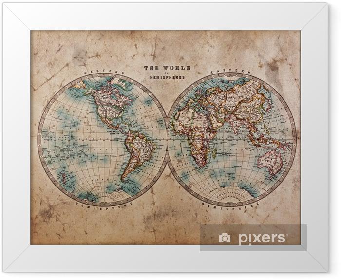 Plakat w ramie Stara mapa świata na półkuli - Tematy
