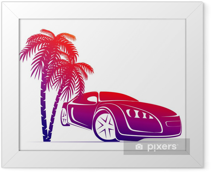 muscle car near the palm Framed Poster - On the Road
