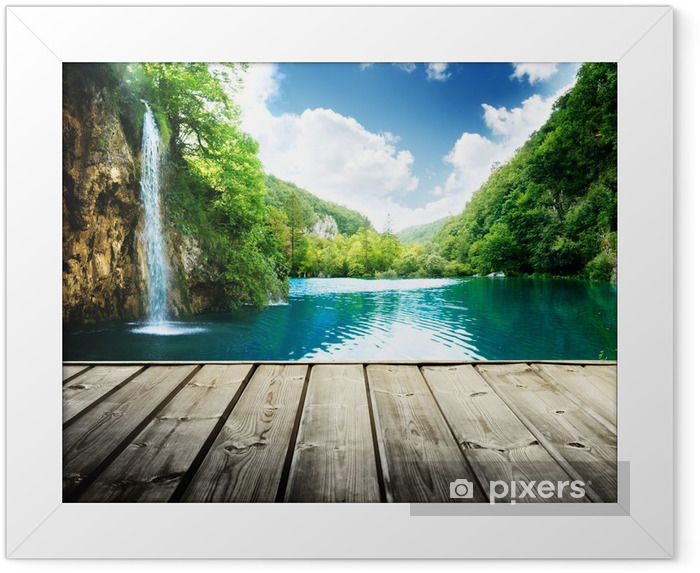 waterfall in deep forest of croatia and wood pier Framed Poster - Themes