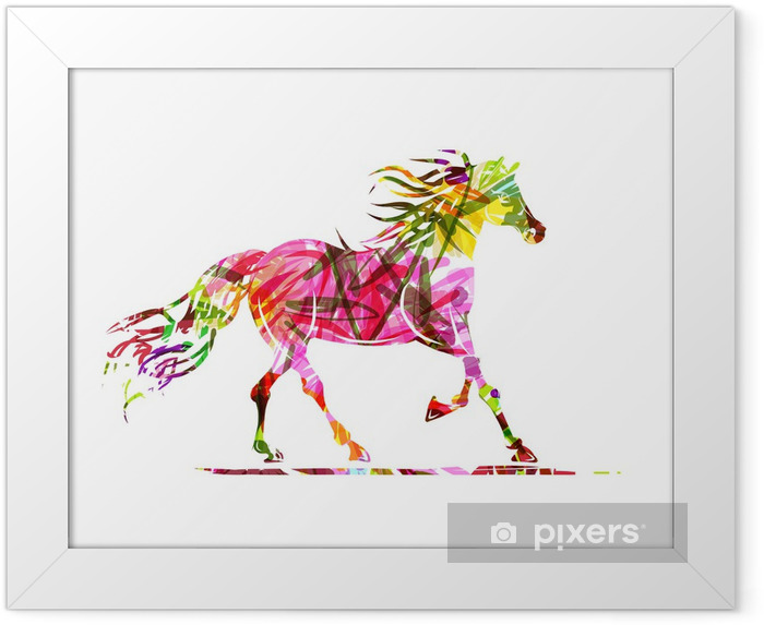 Horse sketch with floral ornament for your design. Symbol of Framed Poster - Themes
