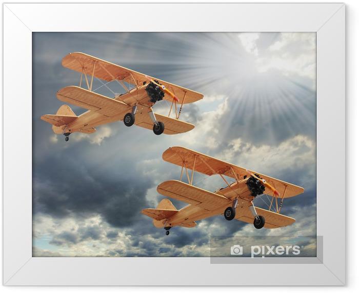 Plakat w ramie Retro styl obraz z biplanes. Temat transportu. - Tematy