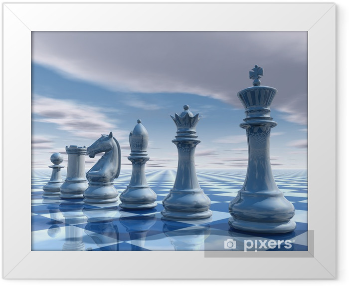 chess surreal background with sky and chessboard illustration Framed Poster - Styles