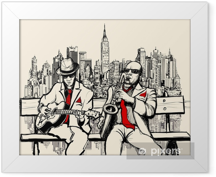 two jazz men playing in New York Framed Poster - Jazz