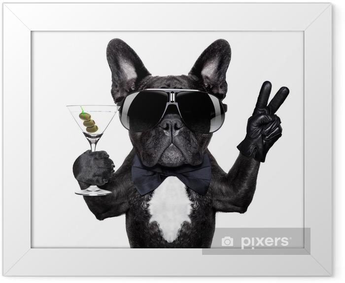 Poster en cadre Paix cocktail chien - Sticker mural