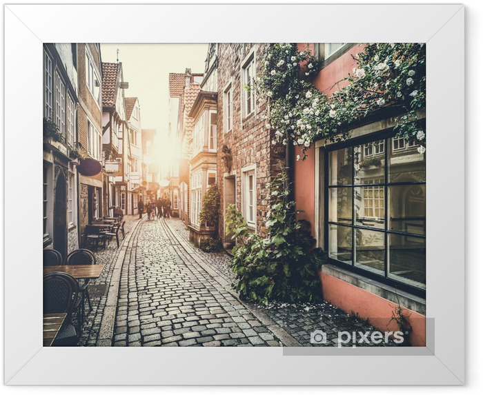 Historic street in Europe at sunset Framed Poster - Themes