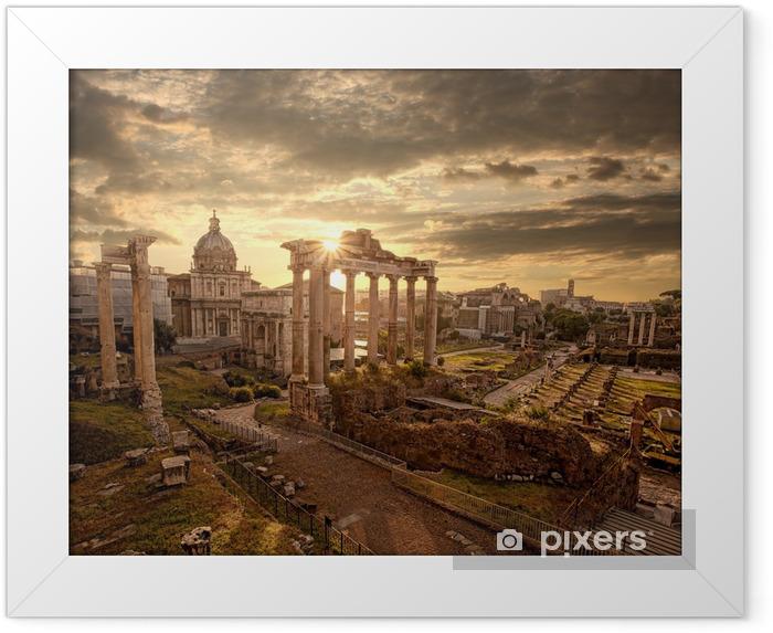 Plakat w ramie Słynne rzymskie ruiny w Rzymie, stolicy Włoch -