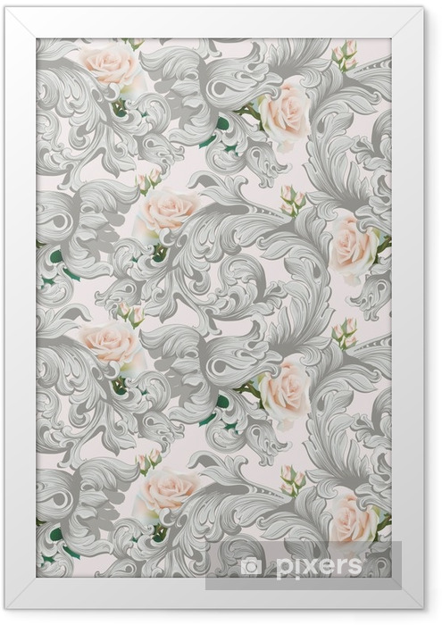 Luxury Rococo ornament with roses flowers background Vector. Delicate Rich imperial intricate elements. Victorian Royal style pattern Framed Poster - Plants and Flowers