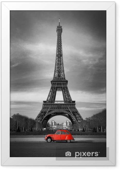 Plakat w ramie Wieża Eiffla i czerwony-paris samochód - Style