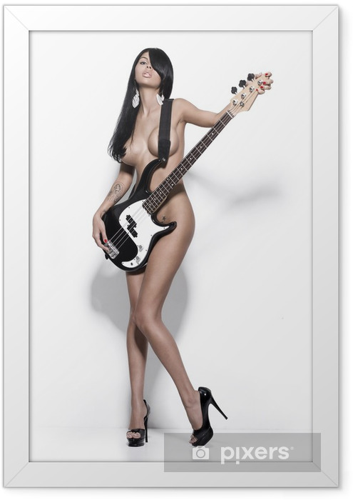 nude girl with a guitar Framed Poster - Themes