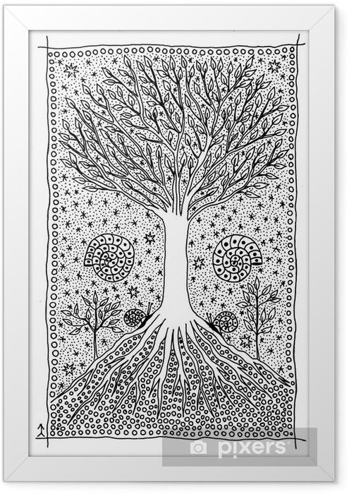 Poster en cadre Tree of Life. Dessin fantastique. - Art et création