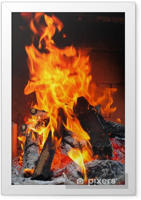 Poster en cadre Incendie dans une cheminée - Textures