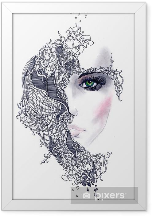 Plakat w ramie Streszczenie twarz kobiety - Style