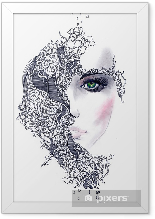 Poster en cadre Abstract woman face - Styles