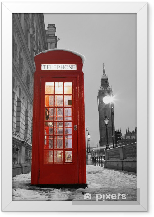 London Telephone Booth and Big Ben Framed Poster - Styles