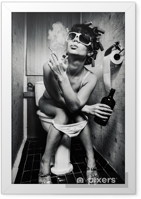 girl sits in a toilet Framed Poster - Addiction