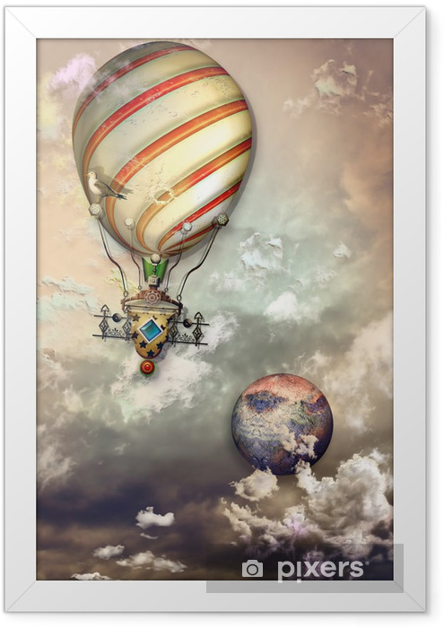 Fire balloon in the storm Framed Poster - Air