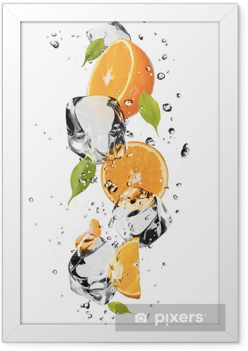 Oranges with ice cubes, isolated on white background Framed Poster - Wall decals