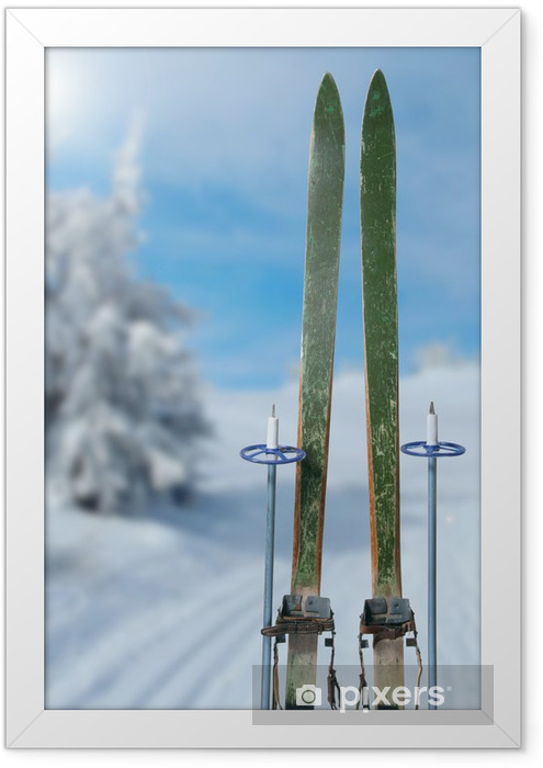 cross country skiing on a sunny winter day Framed Poster - Winter Sports