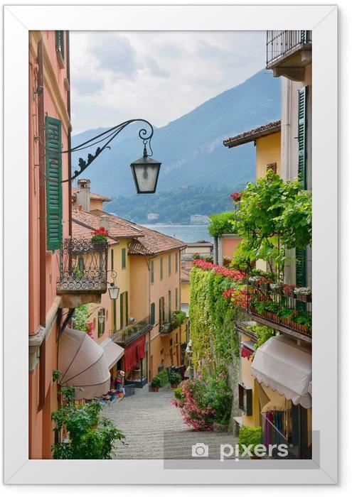 Plakat w ramie Malownicze miasto ulica Widok jeziora Como, w - iStaging