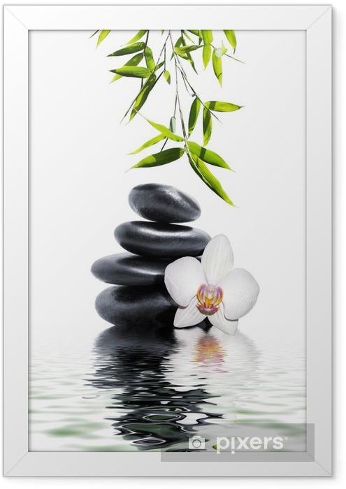 Plakat w ramie Biała orchidea kwiat bambusa końca -