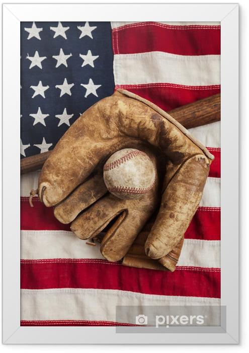 Plakat w ramie Vintage baseball, bat i rękawice na amerykańskiej flagi - Artykuły sportowe