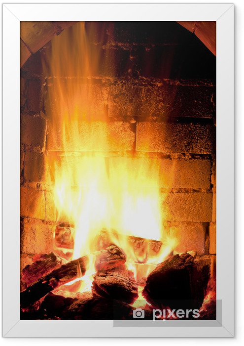 Poster en cadre Feu dans cheminée - Thèmes