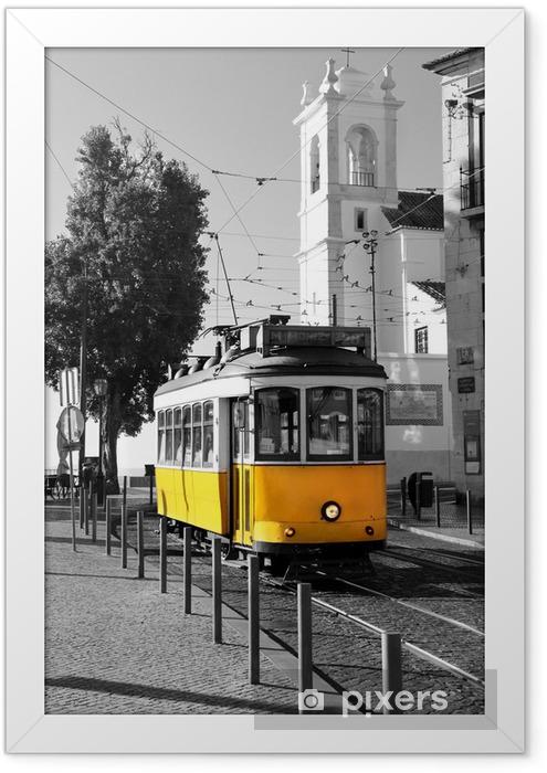 Poster in Cornice Lisbona vecchio tram giallo su sfondo bianco e nero -