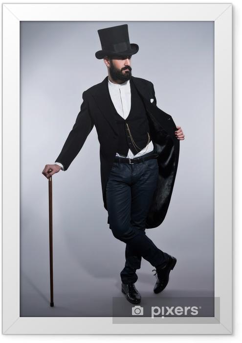 Poster in Cornice Retro pantaloni a vita bassa 1900 di moda uomo in tuta con capelli neri e la barba - Uomini