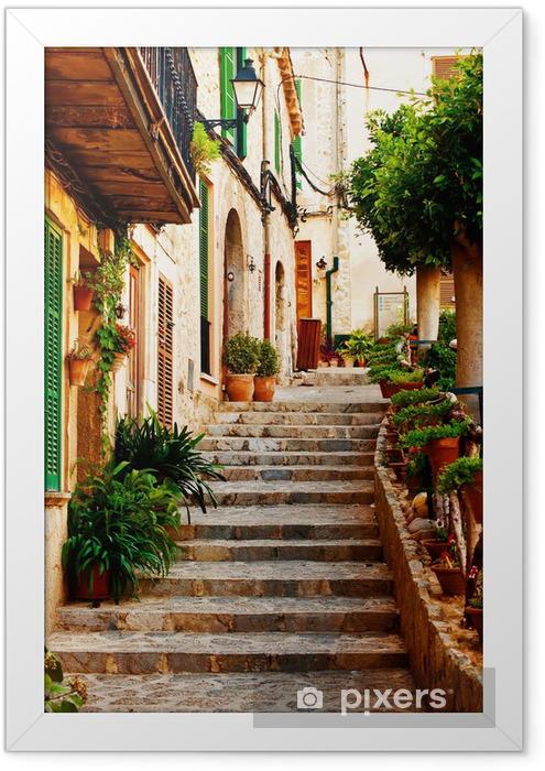 Street in Valldemossa village in Mallorca Framed Poster -