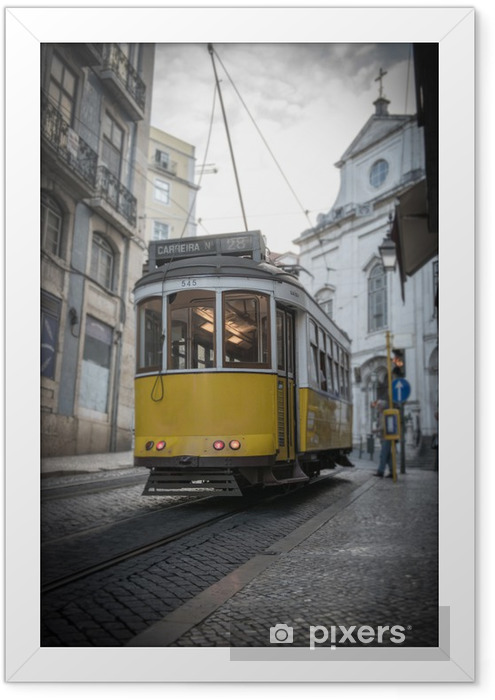 Yellow tramway in Lisbon Framed Poster - On the Road