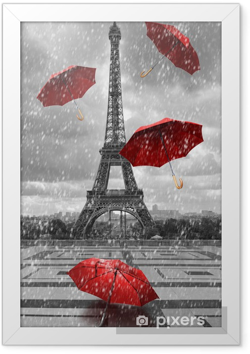 Eiffel tower with flying umbrellas. Framed Poster -