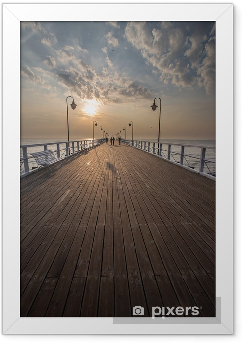 Sunrise on the pier at the seaside, Gdynia Orlowo, Framed Poster - Themes