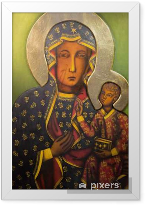 Tel Aviv - Icon of black Madonna from st. Peters church Framed Poster - Buildings and Architecture