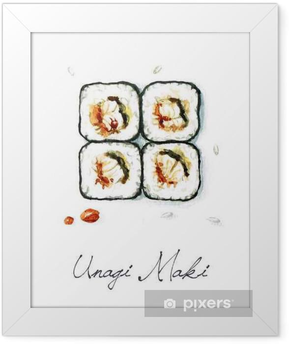 Plakat w ramie Akwarela żywności Malarstwo - Unagi Maki - Jedzenie
