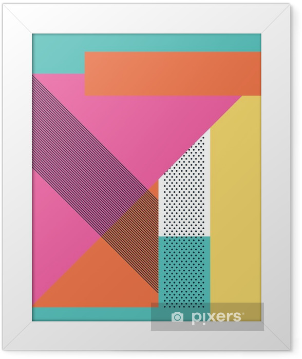 Abstract retro 80s background with geometric shapes and pattern. Material design wallpaper. Framed Poster - Graphic Resources