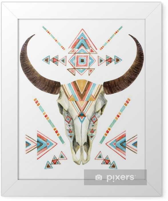 Cow skull in tribal style. Animal skull with ethnic ornament Framed Poster - Animals