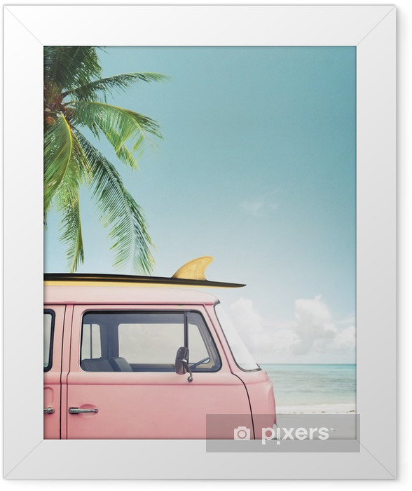 Vintage car parked on the tropical beach (seaside) with a surfboard on the roof Framed Poster - Hobbies and Leisure