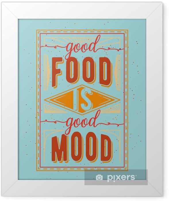 Plakat w ramie Vintage żywności związane typograficzny cytat - Zasoby graficzne