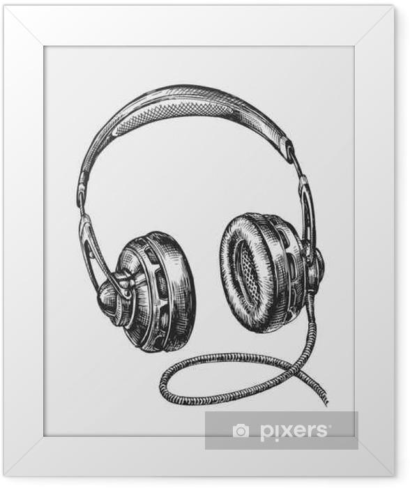 Hand-drawn vintage headphones. Sketch music. Vector illustration Framed Poster - Technology