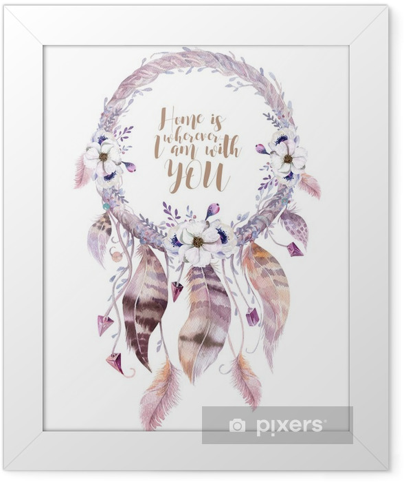 Isolated Watercolor decoration bohemian dreamcatcher. Boho feath Framed Poster - Plants and Flowers