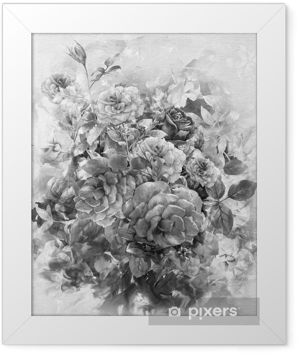 Plakat w ramie Streszczenie kolorowe kwiaty akwarela. Wiosenne kwiaty wielokolorowe - Hobby i rozrywka