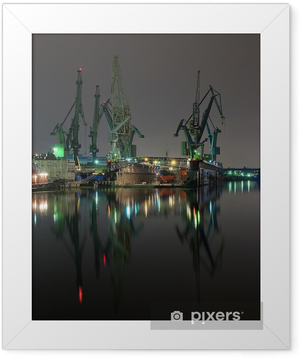 And cranes of Gdansk shipyard, Poland. Framed Poster - Themes
